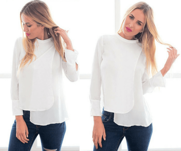 White Asymmetric Layered Chiffon Blouse | Lookbook Store