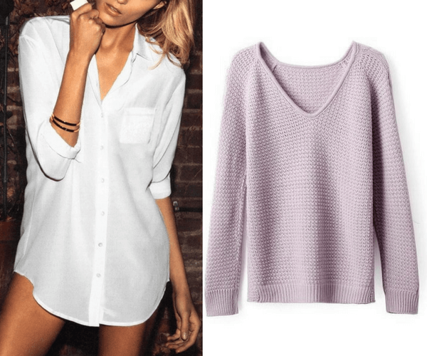 White Classic Button-Down Shirt and Must-have Lavender Sweater | Lookbook Store