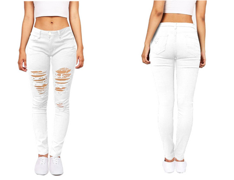 White Distressed Skinny Jeans | Lookbook Store