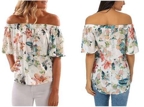 White Floral Off-Shoulder Blouse | Lookbook Store