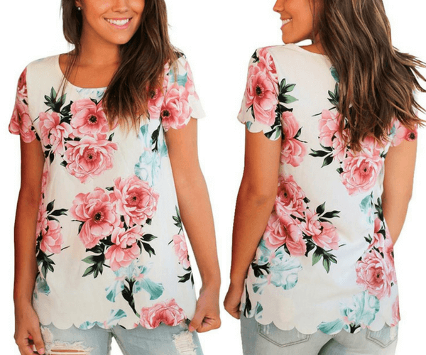 White Floral Scallop-Hem Blouse | Lookbook Store