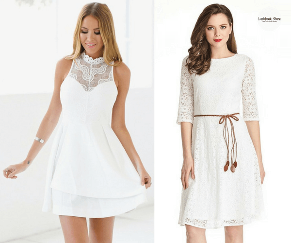 White Lace Illusion Neck Dress and White Lace Crop Sleeves A-Line Dress | Lookbook Store