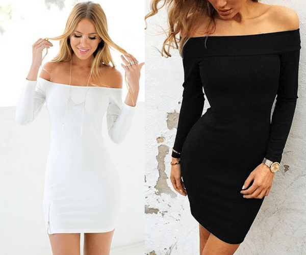 White Off-Shoulder Mini Dress and Black Off-Shoulder Bodycon Dress | Lookbook Store