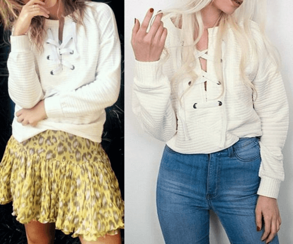 White Ribbed Lace-up Sweatshirt | Lookbook Store