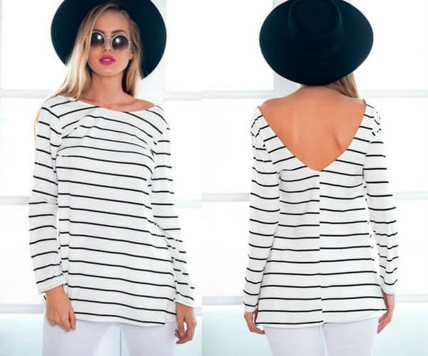 White Striped V-Back Tunic