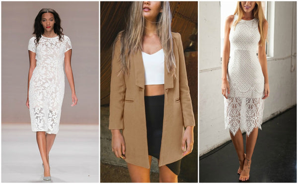 Brown trench coat and white dresses