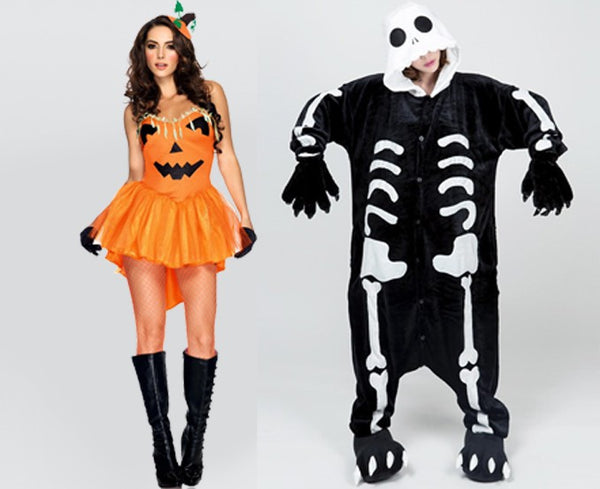 Girls in cute Halloween costumes