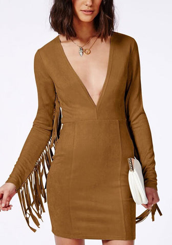 Brown Suede Fringe Sleeve Dress | Lookbook Store