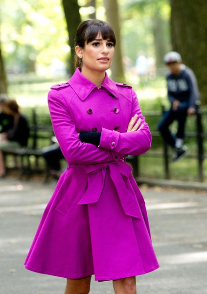 Lea Michelle in a fuschia trench coat