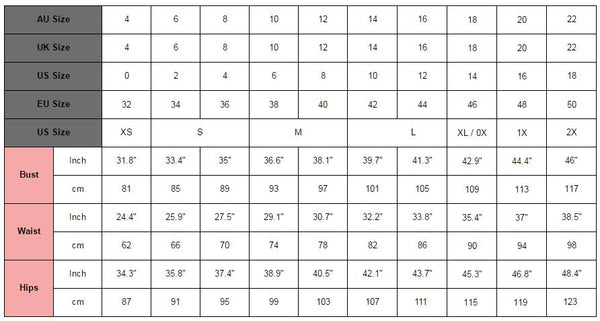 Lookbook Store clothing size chart