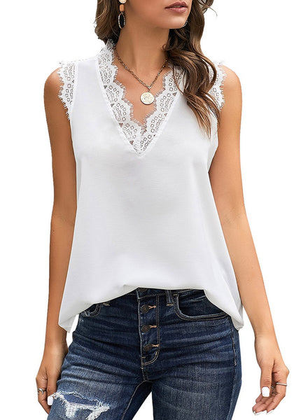 Front view of model wearing white scallop trim V-neck sleeveless chiffon top