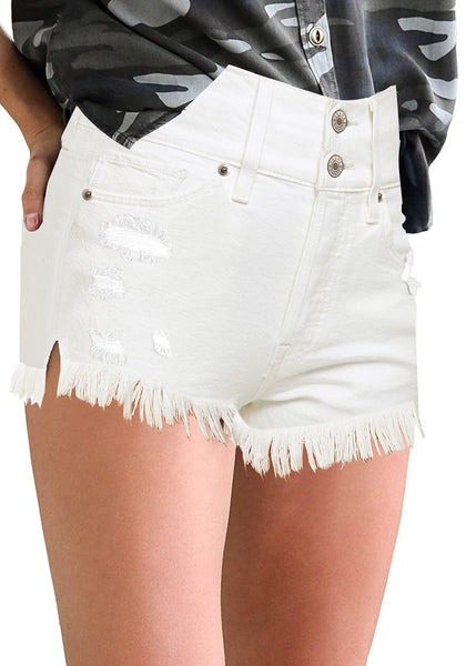 Angled shot of model wearing white frayed raw he distressed high-waist denim shorts