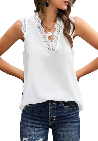 Model poses wearing white scallop trim V-neck sleeveless chiffon top