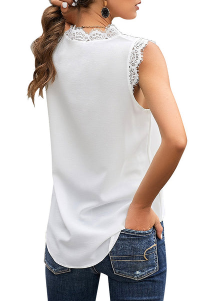 Back view of model wearing white scallop trim V-neck sleeveless chiffon top