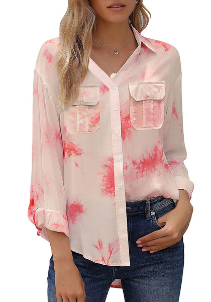 Red Tie-Dye Long Sleeves Button-Up Top