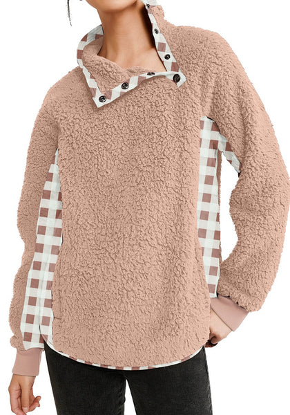 Front view of model wearing blush split cowl neck plaid fleece sweater top