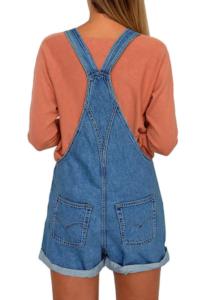 Back view off model wearing deep blue button-front rolled hem shorts denim overall
