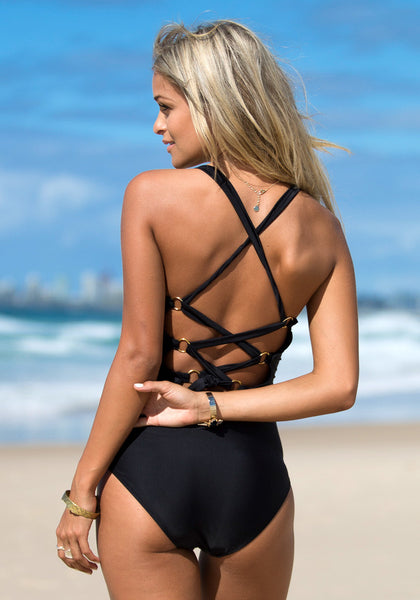 Back Cross Black - Super Hot Swimsuit
