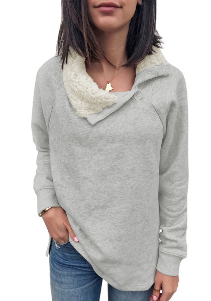 Front view of model wearing light grey split cowl collar long sleeves pullover top