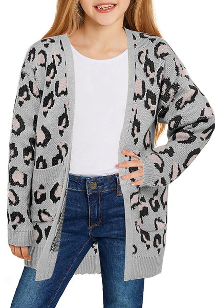 Little girl poses wearing grey leopard print open-front girls' knit cardigan