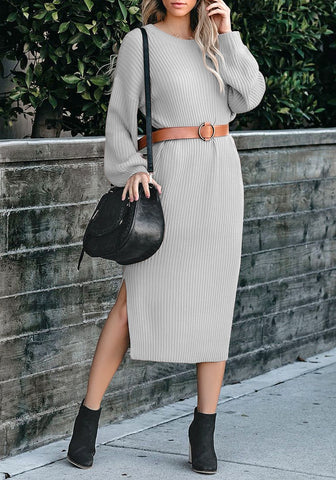 Grey Loose Lantern Sleeves V-Back Knit Midi Dress