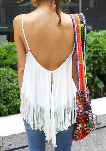 Flowy Fringe Tank - White - Pretty Fringe Top