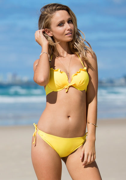 Ruffles Tie up Bikini Set - Yellow - Adorable Ruffles Tie Swimwear