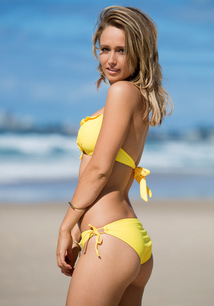 Ruffles Tie up Bikini Set - Yellow - Stretchable Fabric Swimwear