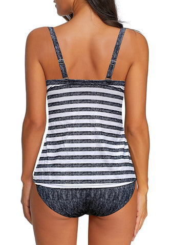 Black Twist-Front Striped Melange Tankini Set