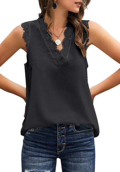 Model poses wearing black scallop trim V-neck sleeveless chiffon top