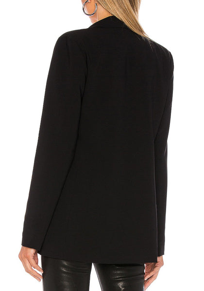 Back view of model wearing black lapel patch pockets boyfriend blazer