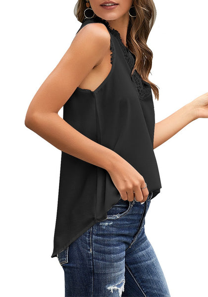 Side view of model wearing black scallop trim V-neck sleeveless chiffon top