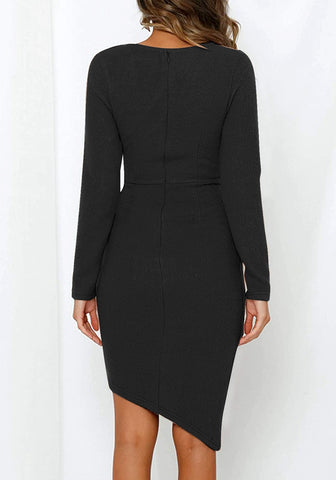 Black Long Sleeves Tulip Hem Asymmetrical Wrap Dress
