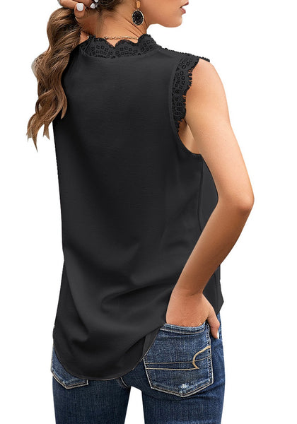 Back view of model wearing black scallop trim V-neck sleeveless chiffon top