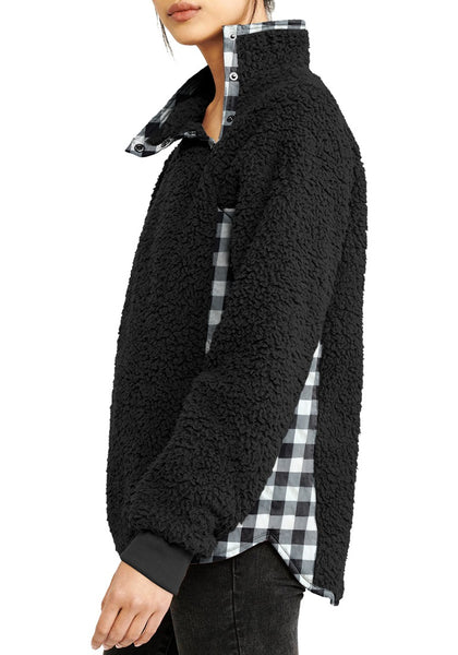 Side view of model wearing black split cowl neck plaid fleece sweater top