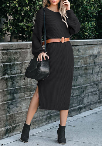 Black Loose Lantern Sleeves V-Back Knit Midi Dress