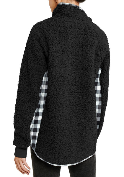 Back view of model wearing black split cowl neck plaid fleece sweater top
