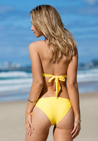 Ruffles Tie up Bikini Set - Yellow - Sexy Tied Halter