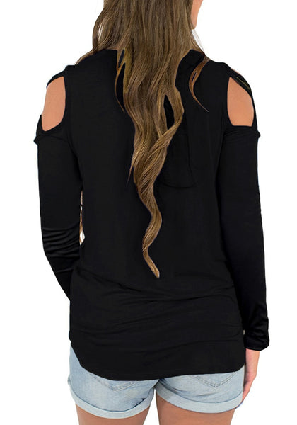 Back view of model wearing black crisscross cutout shoulder long sleeves blouse