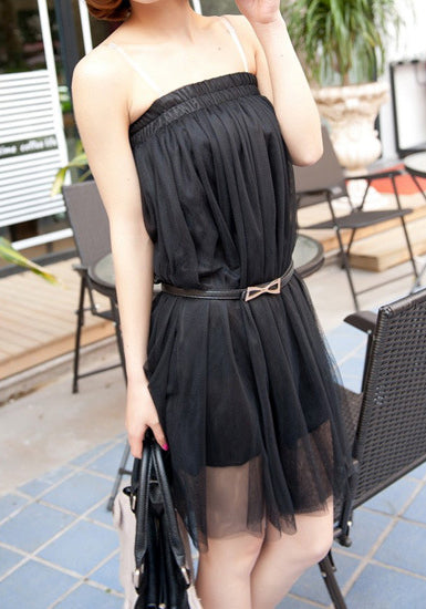 Layered Gauze Skirt - Black - Partially Lined Bottom