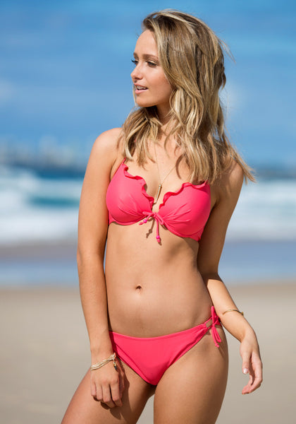 Ruffles Tie up Bikini Set - Coral - Adorable Ruffles Tie Swimwear