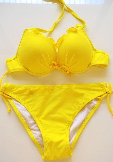 Ruffles Tie up Bikini Set - Yellow - Adjustable Straps at Back