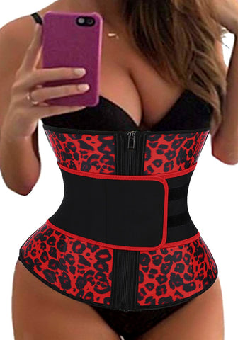 Red Leopard Women's Corset Waist Trainer