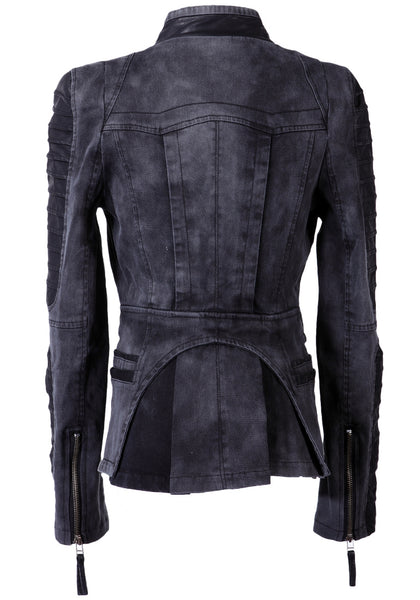 Denim PU Leather Contrast Grey - Zip Detailing Sleeves