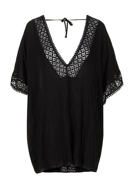 3D image of black hollow out V-neck kaftan beach cover-up