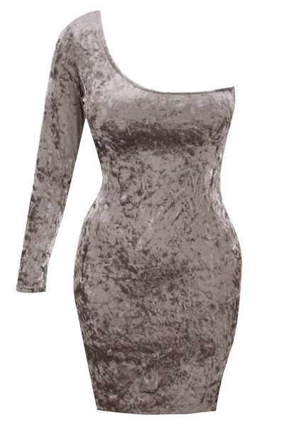 3D image of dark grey velvet one-shoulder bodycon dress