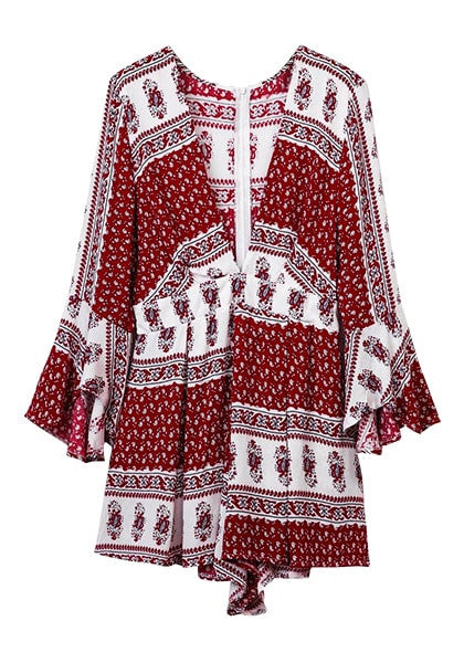 3D image of front of maroon floral-printed plunge romper