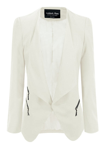 3D image of  front of white draped blazer