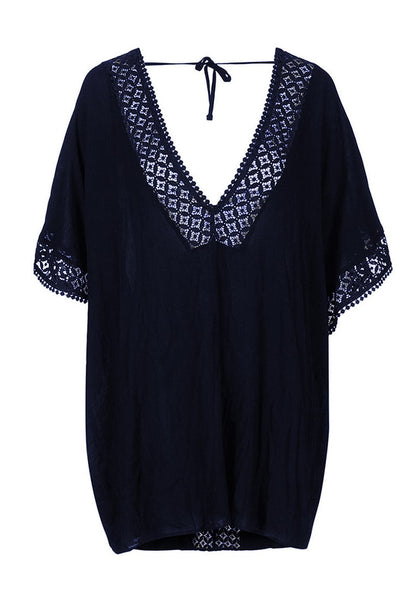 3D image of navy hollow out V-neck kaftan beach cover-up
