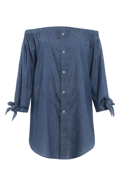 3D image of off-shoulder chambray tunic
